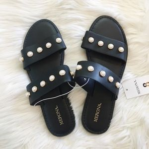 NWT Merona Black Pearl Slip On Slide Sandals